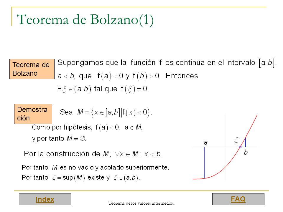 Index FAQ Teorema de los valores intermedios. Teorema de Bolzano(1) Teorema de Bolzano Demostra ción a b