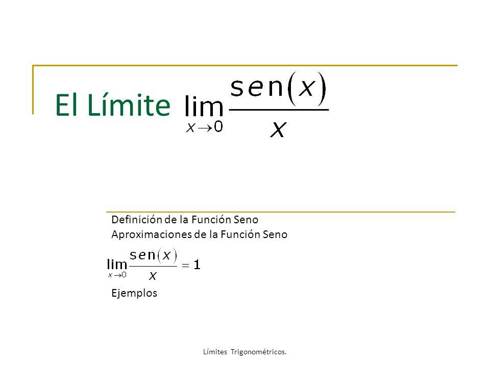El Límite Definición de la Función Seno Aproximaciones de la Función Seno Ejemplos Límites Trigonométricos.