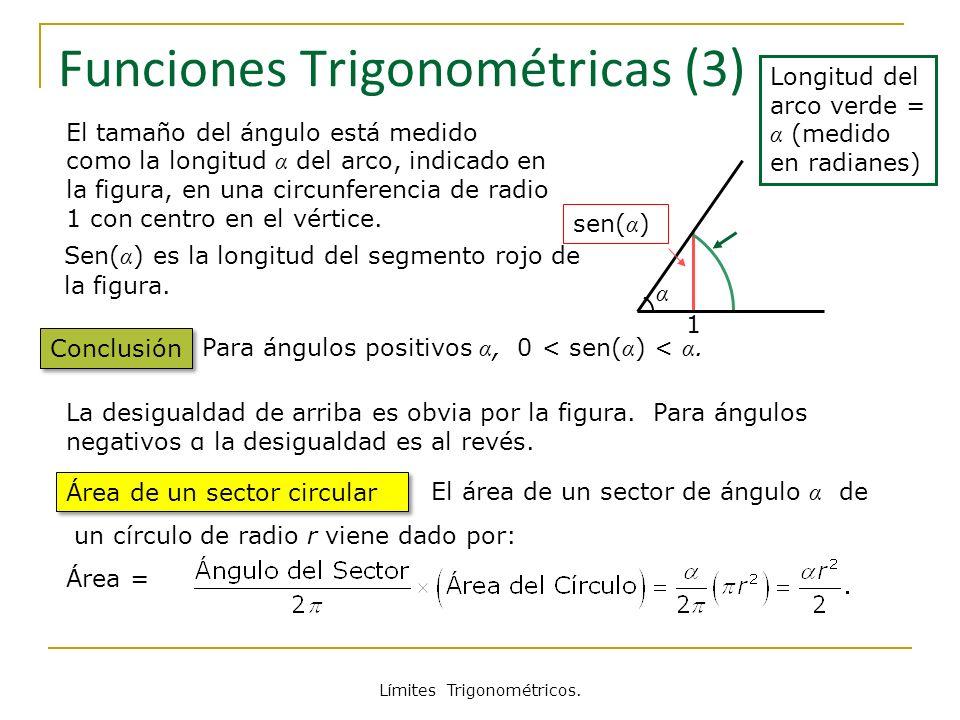 Límites Trigonométricos. α 1 sen( α ) Funciones Trigonométricas (3) Conclusión El tamaño del ángulo está medido como la longitud α del arco, indicado