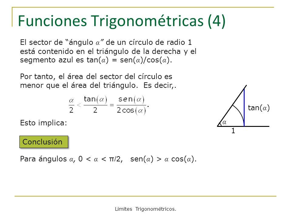 Límites Trigonométricos. tan( α ) α 1 Funciones Trigonométricas (4) El sector de ángulo α de un círculo de radio 1 está contenido en el triángulo de l