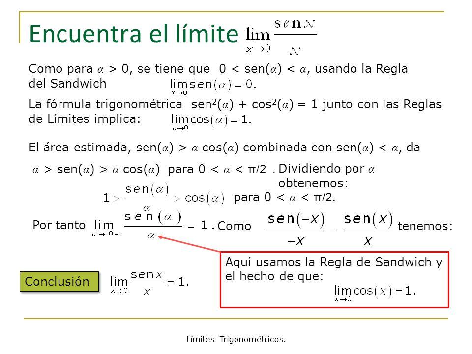 Límites Trigonométricos. Encuentra el límite Como para α > 0, se tiene que 0 < sen( α ) < α, usando la Regla del Sandwich Conclusión El área estimada,