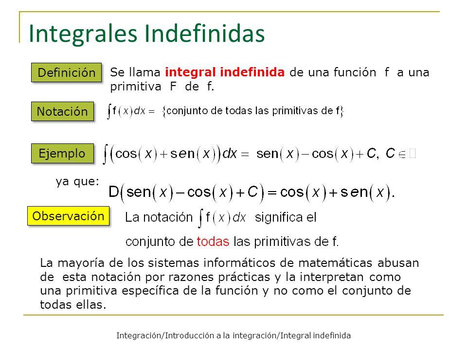 Integración/Introducción a la integración/Integral indefinida Integrales Indefinidas Definición Se llama integral indefinida de una función f a una primitiva F de f.