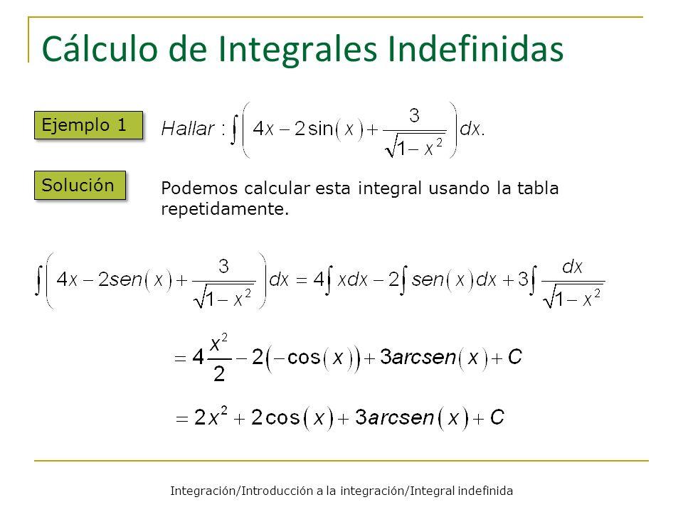 Integración/Introducción a la integración/Integral indefinida Cálculo de Integrales Indefinidas Ejemplo 1 Solución Podemos calcular esta integral usando la tabla repetidamente.