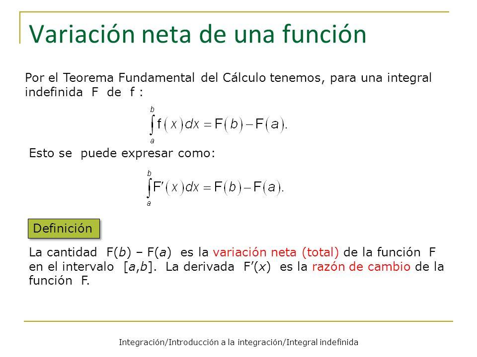 Integración/Introducción a la integración/Integral indefinida Variación neta de una función Esto se puede expresar como: La cantidad F(b) – F(a) es la variación neta (total) de la función F en el intervalo [a,b].