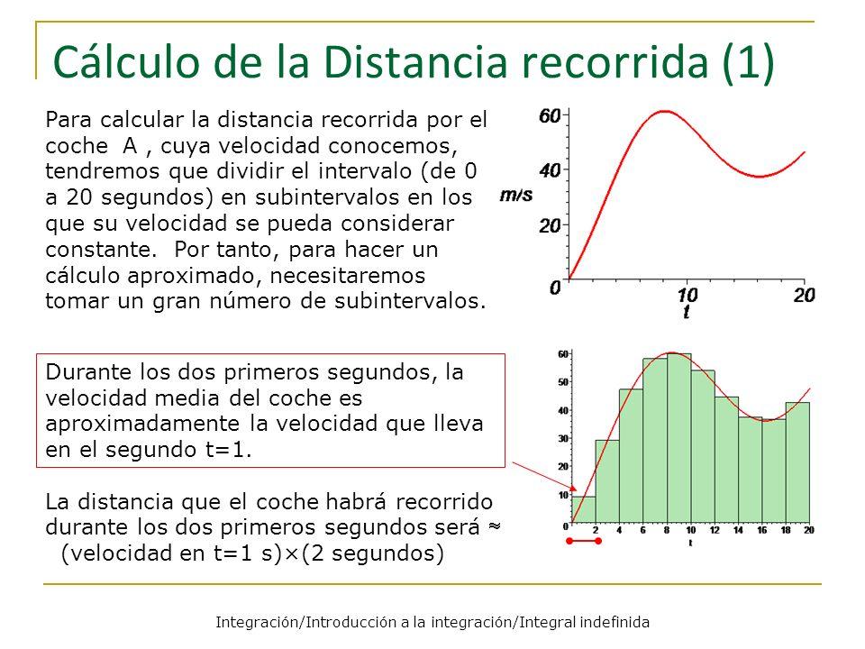 Integración/Introducción a la integración/Integral indefinida Cálculo de la Distancia recorrida (1) Para calcular la distancia recorrida por el coche A, cuya velocidad conocemos, tendremos que dividir el intervalo (de 0 a 20 segundos) en subintervalos en los que su velocidad se pueda considerar constante.