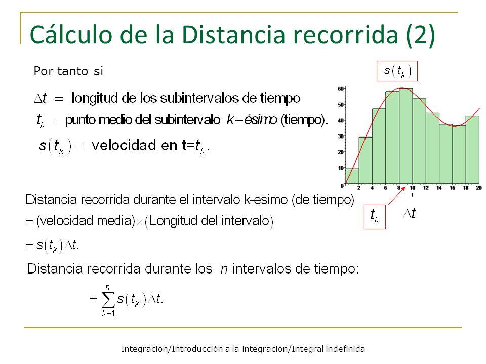Integración/Introducción a la integración/Integral indefinida Cálculo de la Distancia recorrida (2) Por tanto si