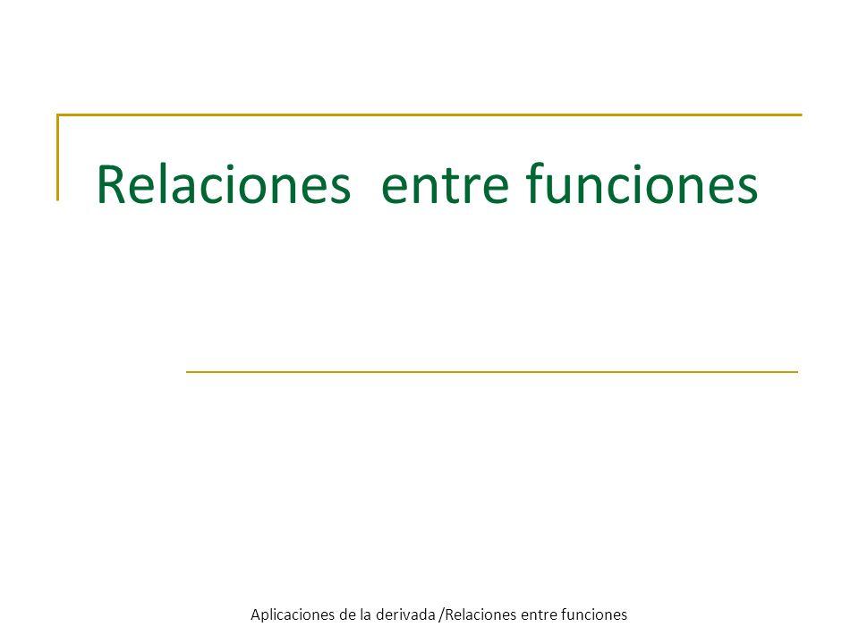 Relaciones entre funciones Aplicaciones de la derivada /Relaciones entre funciones