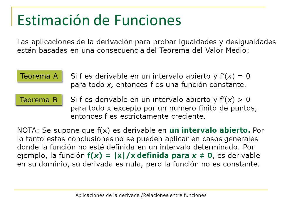 Estimación de Funciones Las aplicaciones de la derivación para probar igualdades y desigualdades están basadas en una consecuencia del Teorema del Val