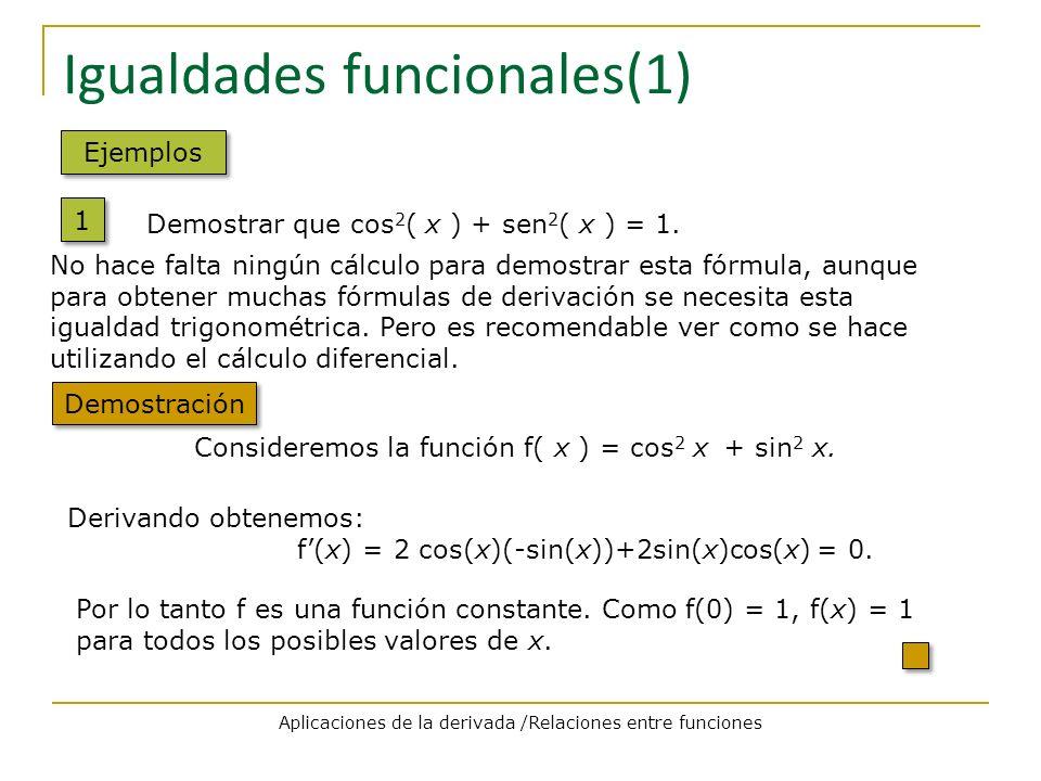 Igualdades funcionales(1) Ejemplos 1 1 Demostración No hace falta ningún cálculo para demostrar esta fórmula, aunque para obtener muchas fórmulas de d