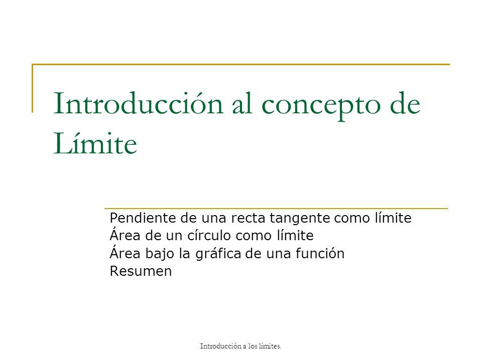 Introducción al concepto de Límite Pendiente de una recta tangente como límite Área de un círculo como límite Área bajo la gráfica de una función Resu