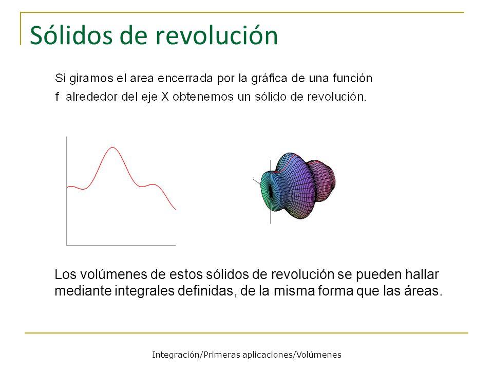 Integración/Primeras aplicaciones/Volúmenes Sólidos de revolución Los volúmenes de estos sólidos de revolución se pueden hallar mediante integrales de
