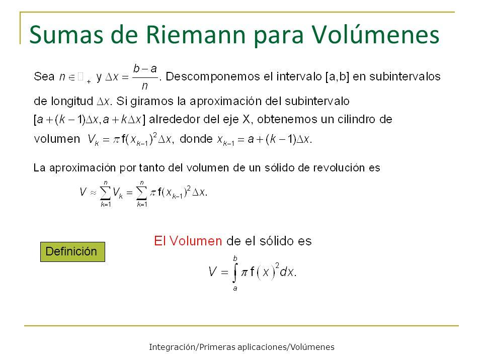 Sumas de Riemann para Volúmenes Definición Integración/Primeras aplicaciones/Volúmenes