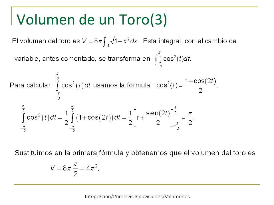 Volumen de un Toro(3) Integración/Primeras aplicaciones/Volúmenes
