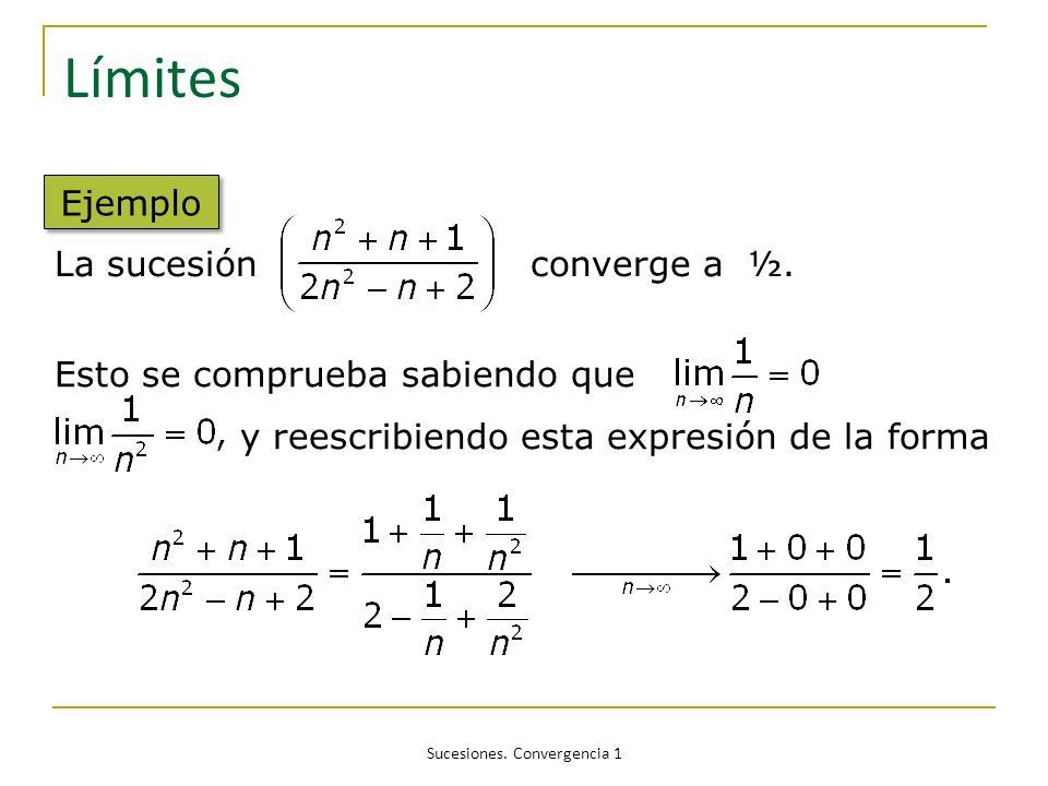 Sucesiones. Convergencia 1 Límites Ejemplo La sucesión converge a ½. Esto se comprueba sabiendo que y reescribiendo esta expresión de la forma