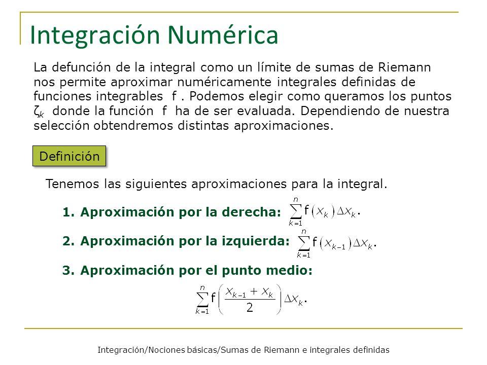 Integración/Nociones básicas/Sumas de Riemann e integrales definidas Integración Numérica Definición La defunción de la integral como un límite de sum