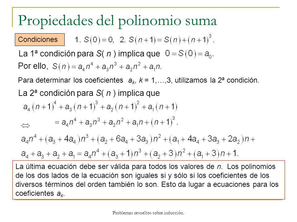Problemas resueltos sobre inducción. Propiedades del polinomio suma Condiciones Para determinar los coeficientes a k, k = 1,…,3, utilizamos la 2ª cond