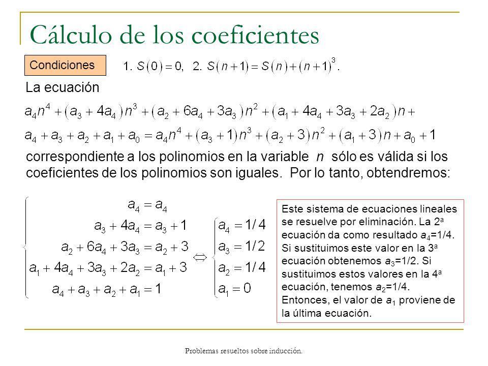 Problemas resueltos sobre inducción. Cálculo de los coeficientes Condiciones Este sistema de ecuaciones lineales se resuelve por eliminación. La 2 a e