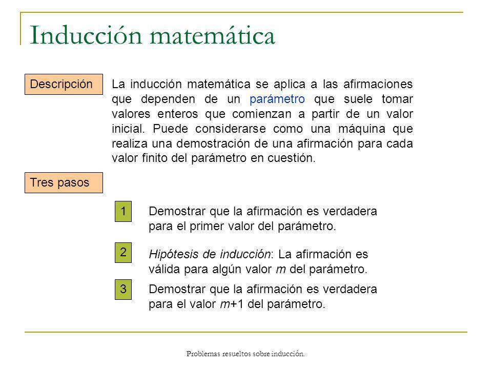 Inducción matemática Descripción Tres pasos 1 2 3 La inducción matemática se aplica a las afirmaciones que dependen de un parámetro que suele tomar va