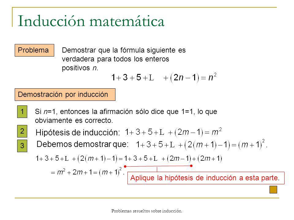 Problemas resueltos sobre inducción. Inducción matemática Problema Demostración por inducción 1 2 3 Si n=1, entonces la afirmación sólo dice que 1=1,