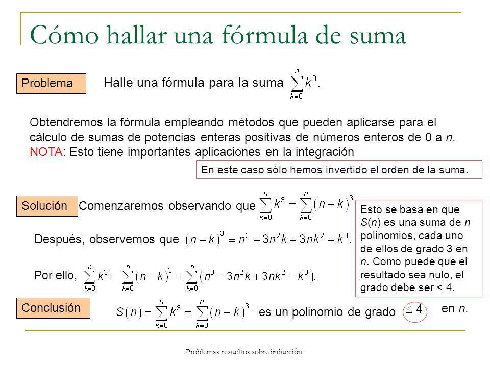 Problemas resueltos sobre inducción. Cómo hallar una fórmula de suma Problema Obtendremos la fórmula empleando métodos que pueden aplicarse para el cá