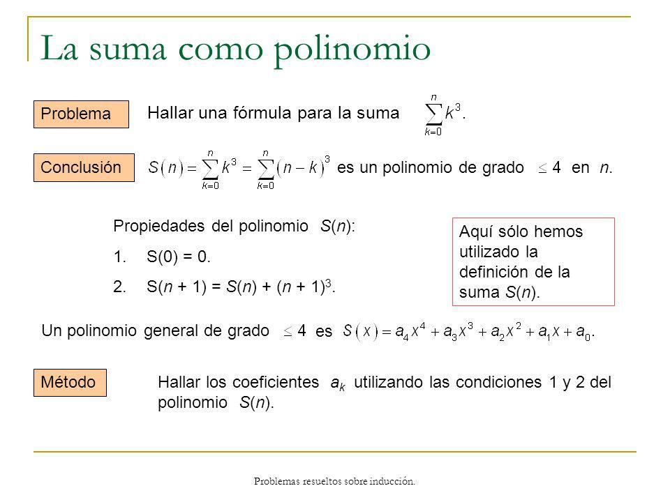 Problemas resueltos sobre inducción. La suma como polinomio Problema Aquí sólo hemos utilizado la definición de la suma S(n). Conclusión Propiedades d