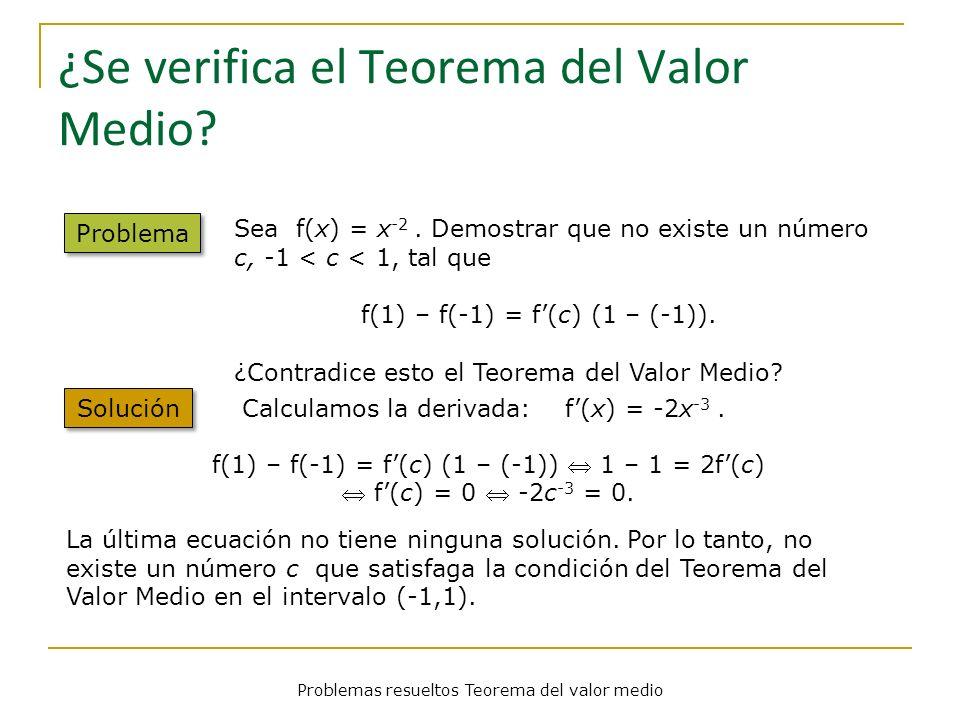Problemas resueltos Teorema del valor medio ¿Se verifica el Teorema del Valor Medio? Problema Calculamos la derivada: f(x) = -2x -3. Solución Sea f(x)