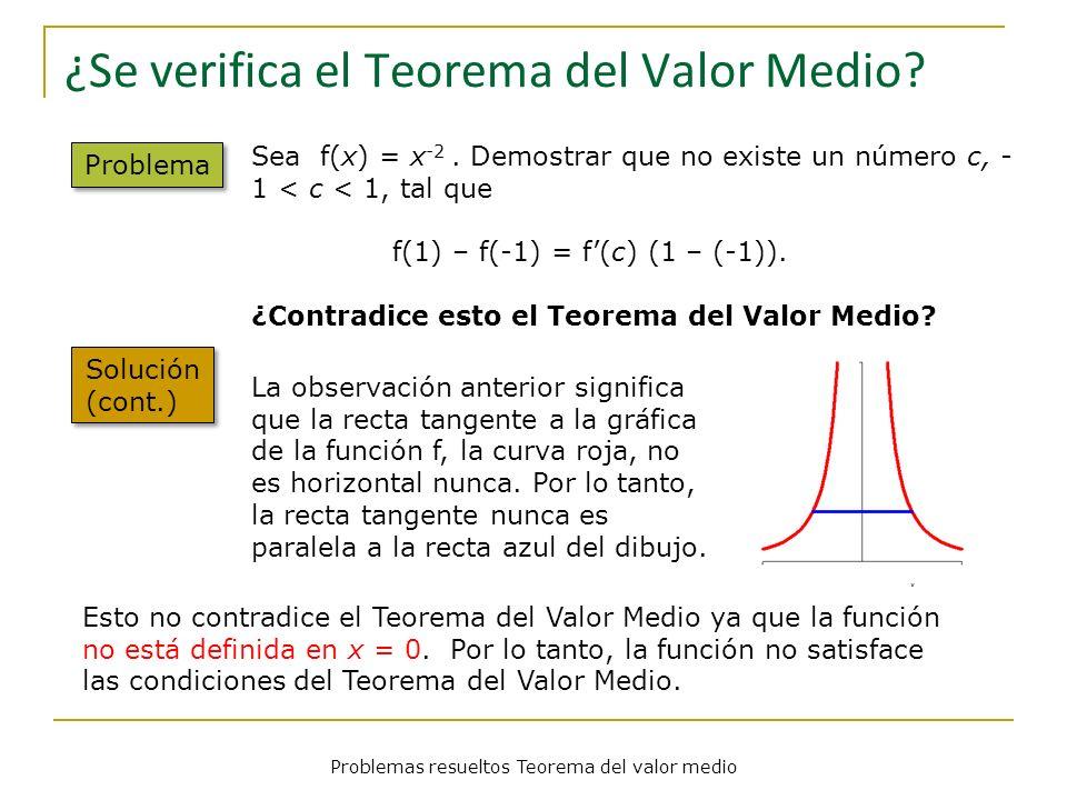 Problemas resueltos Teorema del valor medio ¿Se verifica el Teorema del Valor Medio? Problema Solución (cont.) Sea f(x) = x -2. Demostrar que no exist