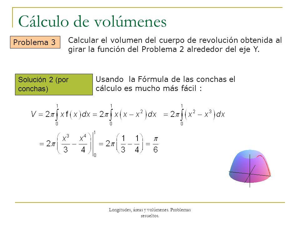 Longitudes, áreas y volúmenes. Problemas resueltos. Cálculo de volúmenes Solución 2 (por conchas) Problema 3 Usando la Fórmula de las conchas el cálcu