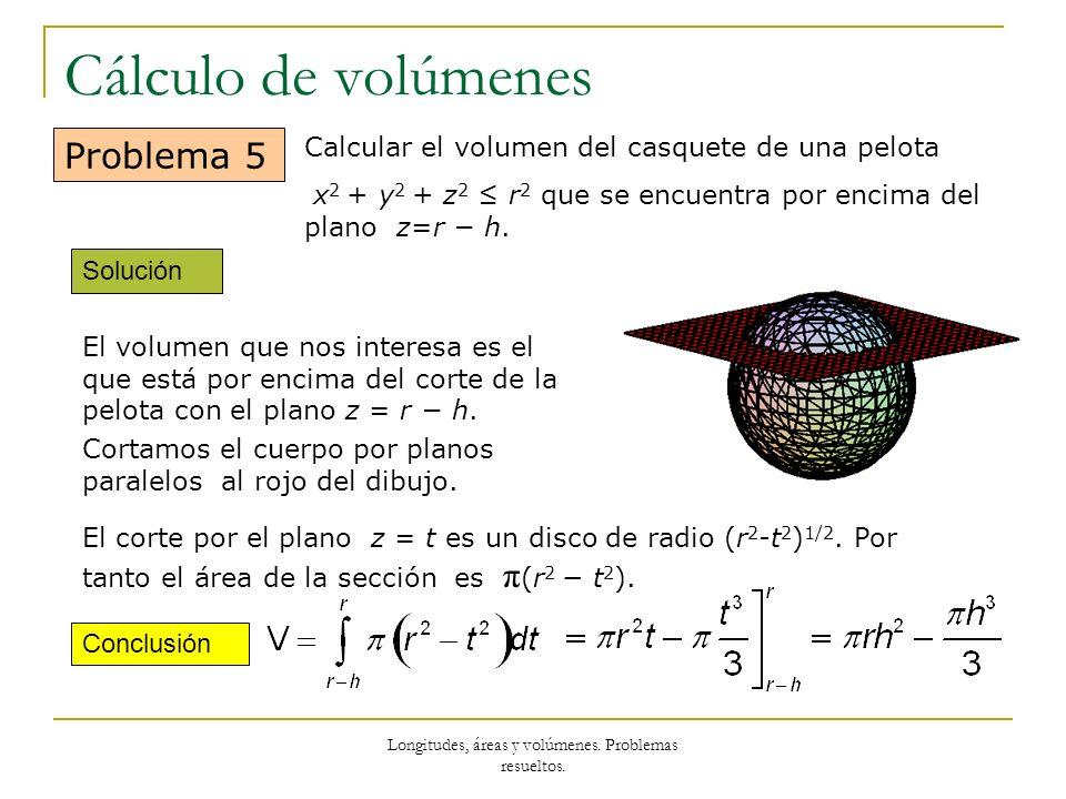Longitudes, áreas y volúmenes. Problemas resueltos. Cálculo de volúmenes Solución Conclusión Problema 5 Calcular el volumen del casquete de una pelota