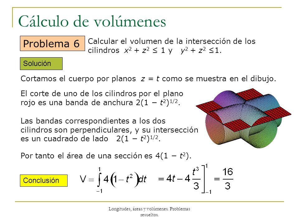 Longitudes, áreas y volúmenes. Problemas resueltos. Cálculo de volúmenes Solución Conclusión Problema 6 Calcular el volumen de la intersección de los