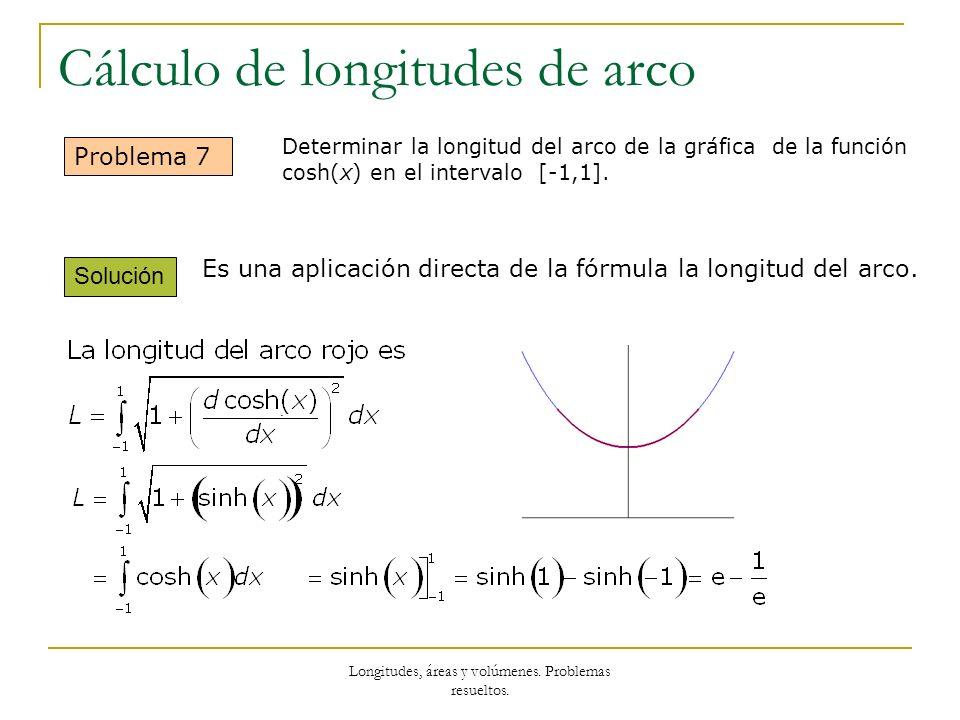 Longitudes, áreas y volúmenes. Problemas resueltos. Cálculo de longitudes de arco Problema 7 Solución Es una aplicación directa de la fórmula la longi