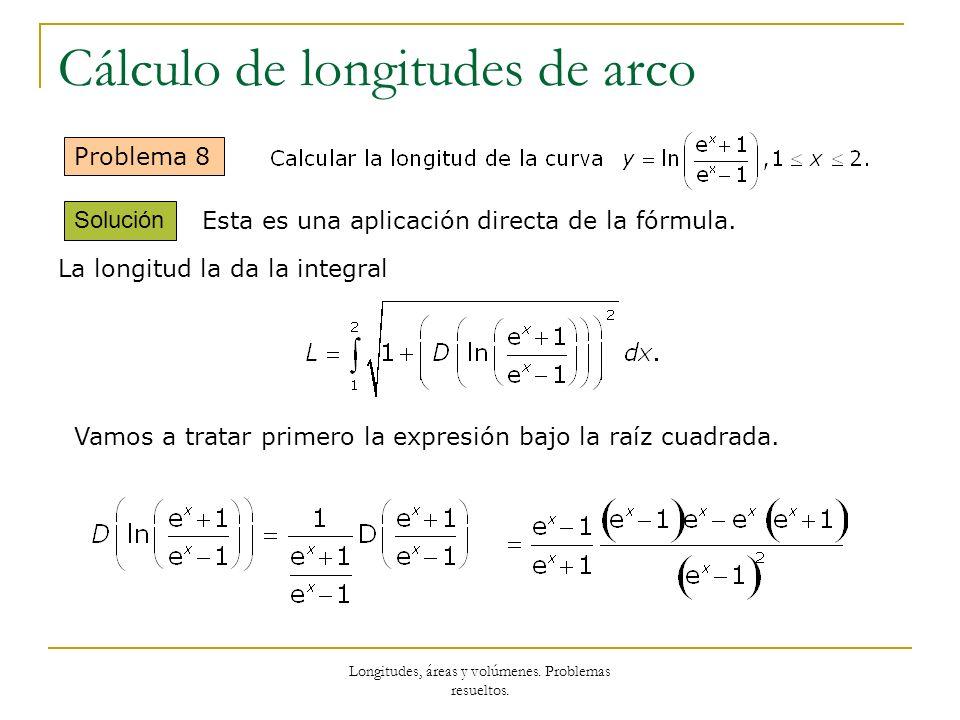 Longitudes, áreas y volúmenes. Problemas resueltos. Cálculo de longitudes de arco Problema 8 Solución Esta es una aplicación directa de la fórmula. La