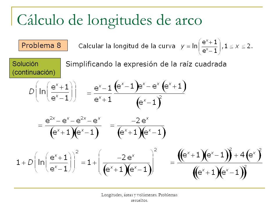 Longitudes, áreas y volúmenes. Problemas resueltos. Cálculo de longitudes de arco Problema 8 Solución (continuación) Simplificando la expresión de la
