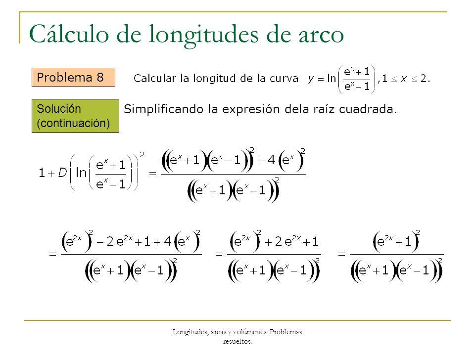 Longitudes, áreas y volúmenes. Problemas resueltos. Cálculo de longitudes de arco Problema 8 Simplificando la expresión dela raíz cuadrada. Solución (