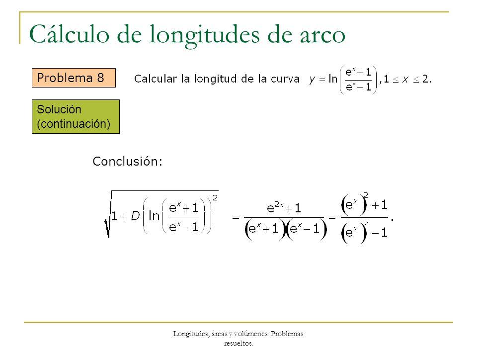 Longitudes, áreas y volúmenes. Problemas resueltos. Cálculo de longitudes de arco Problema 8 Conclusión: Solución (continuación)