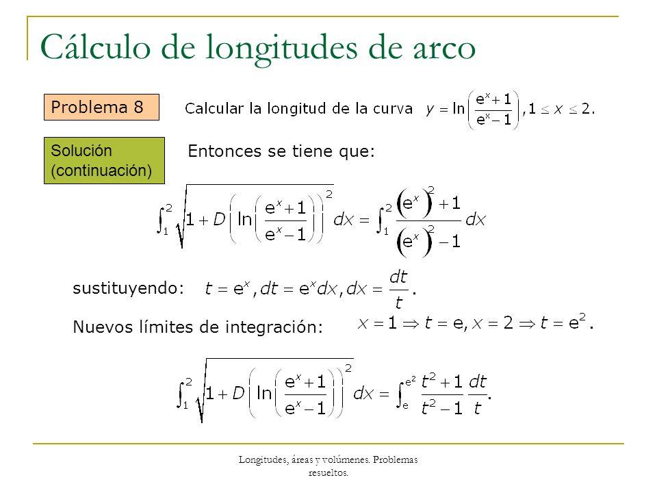Longitudes, áreas y volúmenes. Problemas resueltos. Cálculo de longitudes de arco Problema 8 Entonces se tiene que: sustituyendo: Nuevos límites de in