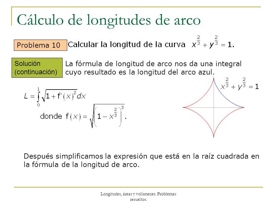 Longitudes, áreas y volúmenes. Problemas resueltos. Cálculo de longitudes de arco Problema 10 La fórmula de longitud de arco nos da una integral cuyo