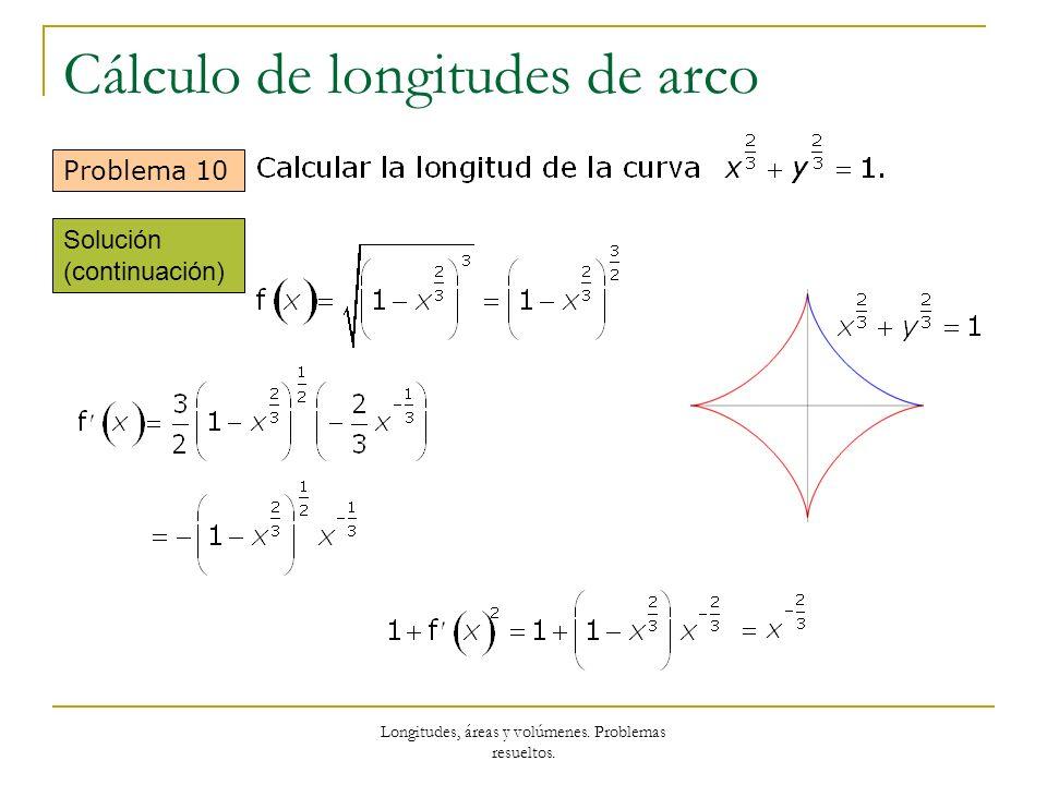 Longitudes, áreas y volúmenes. Problemas resueltos. Cálculo de longitudes de arco Problema 10 Solución (continuación)