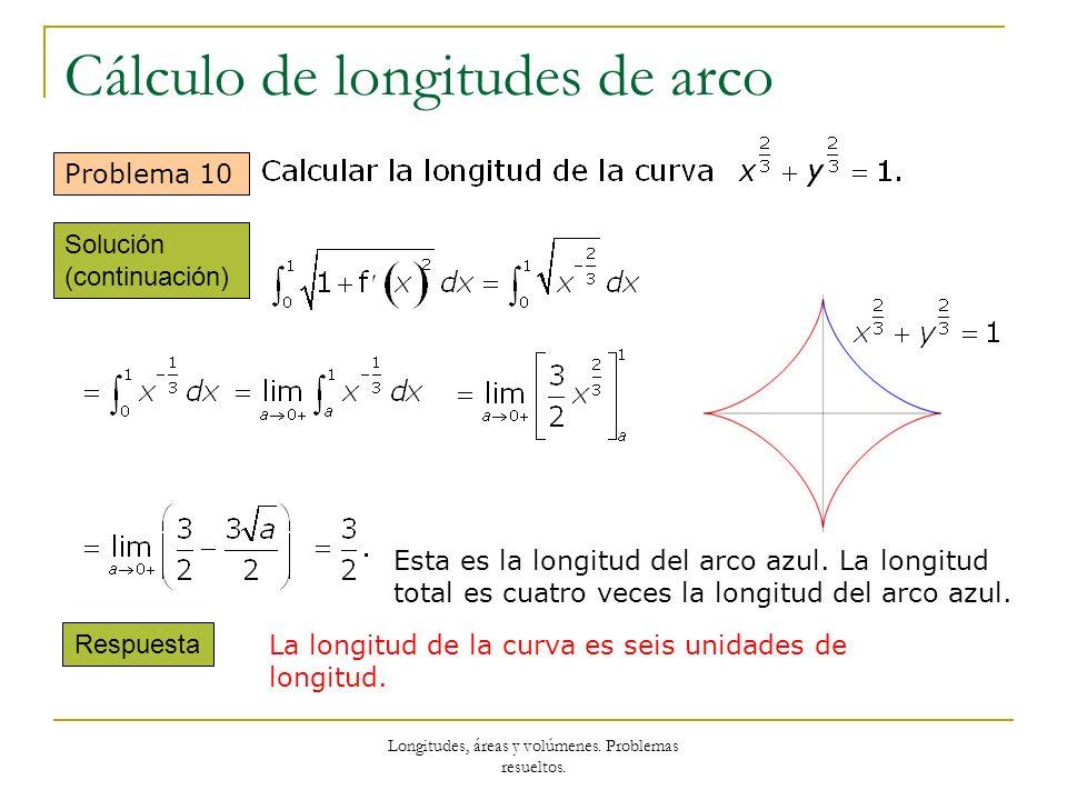 Longitudes, áreas y volúmenes. Problemas resueltos. Cálculo de longitudes de arco Problema 10 Esta es la longitud del arco azul. La longitud total es