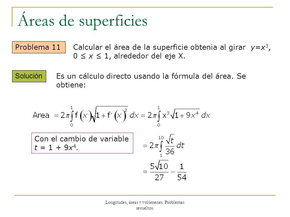 Longitudes, áreas y volúmenes. Problemas resueltos. Áreas de superficies Problema 11 Solución Calcular el área de la superficie obtenia al girar y=x 3