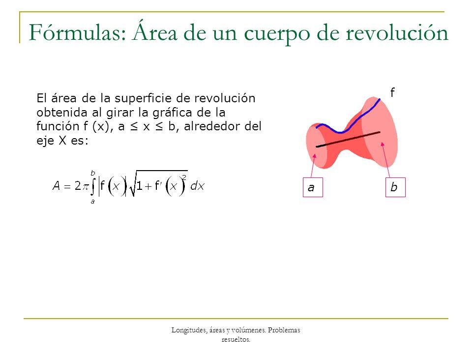 Longitudes, áreas y volúmenes. Problemas resueltos. Fórmulas: Área de un cuerpo de revolución f ab El área de la superficie de revolución obtenida al