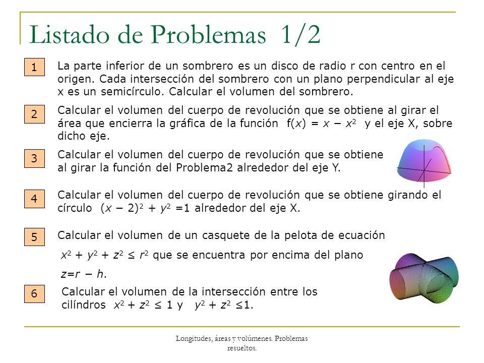 Longitudes, áreas y volúmenes. Problemas resueltos. Listado de Problemas 1/2 1 La parte inferior de un sombrero es un disco de radio r con centro en e