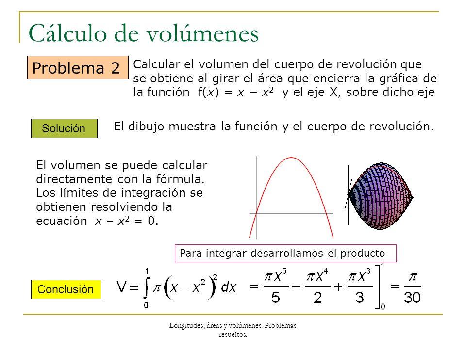 Longitudes, áreas y volúmenes. Problemas resueltos. Cálculo de volúmenes Solución Conclusión Problema 2 Calcular el volumen del cuerpo de revolución q