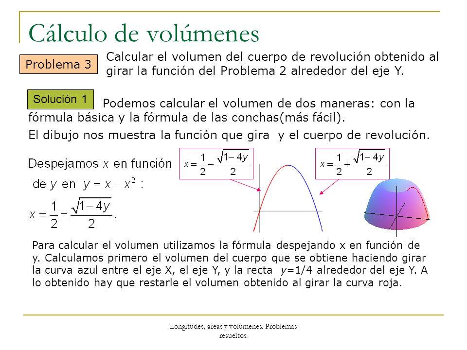 Longitudes, áreas y volúmenes. Problemas resueltos. Cálculo de volúmenes Solución 1 Problema 3 Calcular el volumen del cuerpo de revolución obtenido a