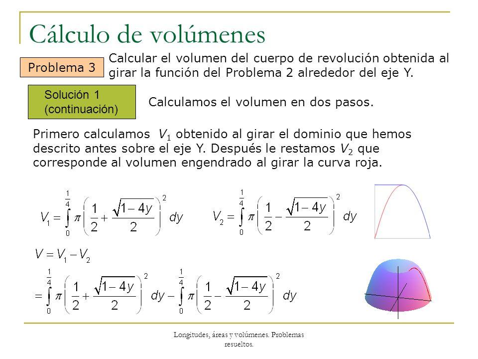 Longitudes, áreas y volúmenes. Problemas resueltos. Cálculo de volúmenes Solución 1 (continuación) Problema 3 Primero calculamos V 1 obtenido al girar