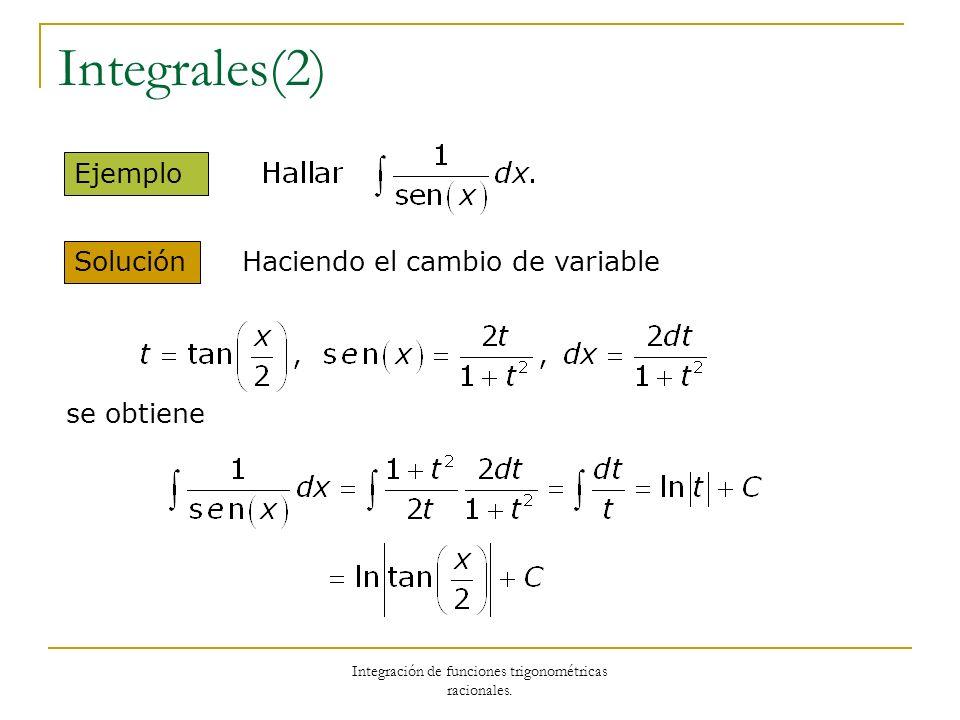 Integración de funciones trigonométricas racionales. Integrales(2) Solución Ejemplo Haciendo el cambio de variable se obtiene