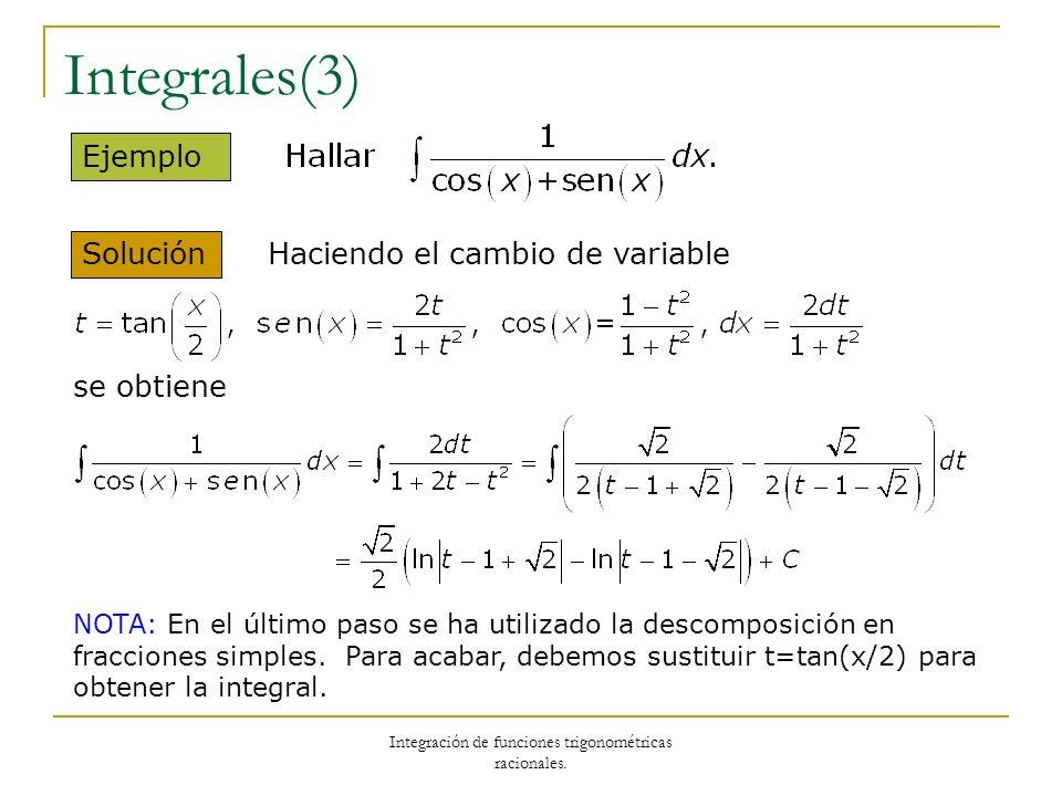 Integración de funciones trigonométricas racionales. Integrales(3) Solución Ejemplo Haciendo el cambio de variable se obtiene NOTA: En el último paso