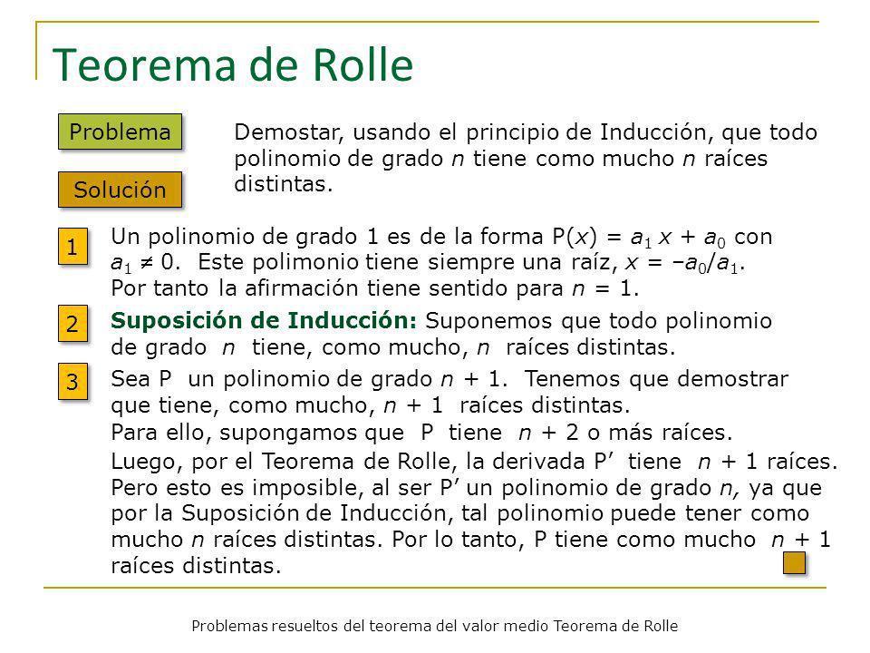 Problemas resueltos del teorema del valor medio Teorema de Rolle Teorema de Rolle Problema Demostar, usando el principio de Inducción, que todo polino