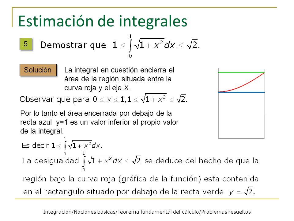 Estimación de integrales La integral en cuestión encierra el área de la región situada entre la curva roja y el eje X. Por lo tanto el área encerrada