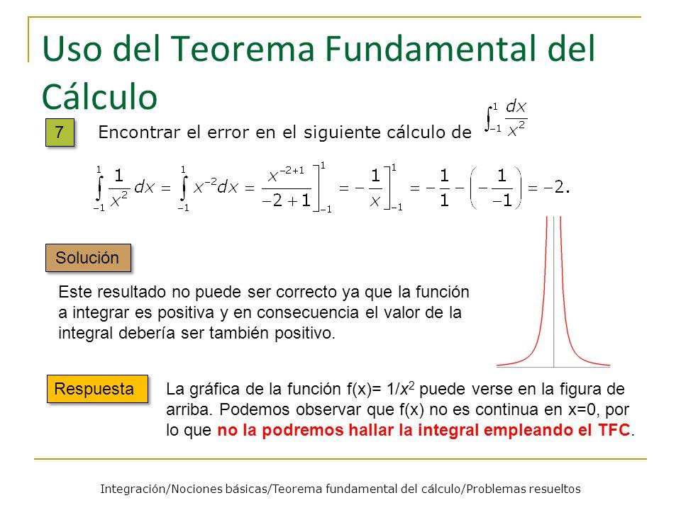 Uso del Teorema Fundamental del Cálculo Respuesta La gráfica de la función f(x)= 1/x 2 puede verse en la figura de arriba. Podemos observar que f(x) n